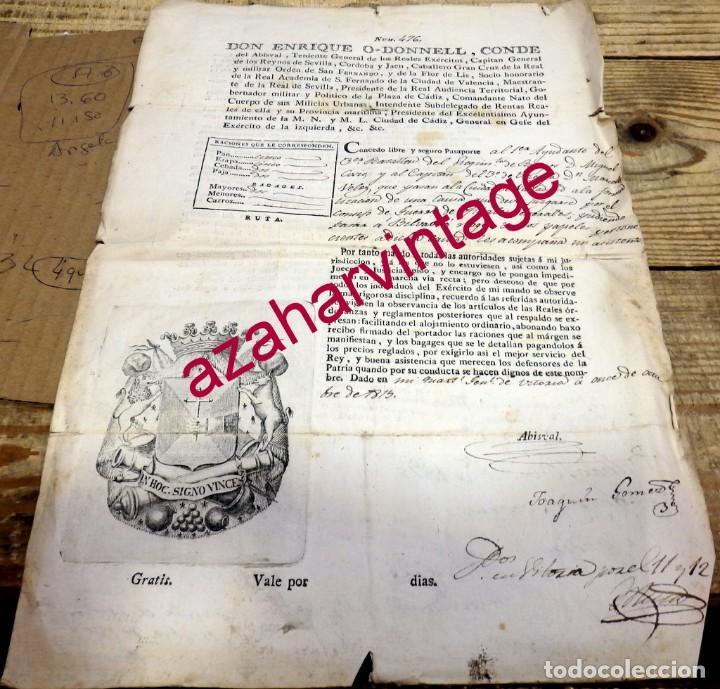VITORIA, 1815, PASAPORTE CONCEDIDO A DOS OFICIALES PARA IR A BILBAO Y VALLADOLID POR UNA CAUSA LEGAL (Militar - Propaganda y Documentos)