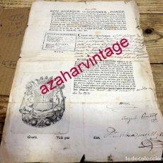 Militaria: VITORIA, 1815, PASAPORTE CONCEDIDO A DOS OFICIALES PARA IR A BILBAO Y VALLADOLID POR UNA CAUSA LEGAL. Lote 169629240