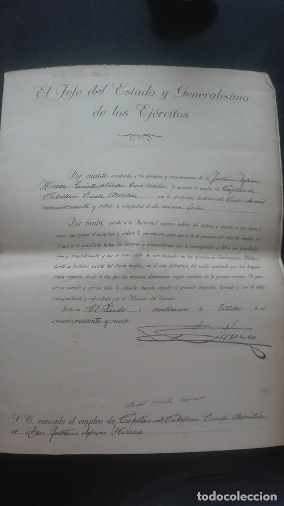ASCENSO A CAPITAN. FIRMA FRANCO Y DAVILA. (Militar - Propaganda y Documentos)