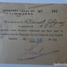 Militaria: SAGUNTO. FET Y JONS. DONATIVO PARA EL MAUSOLEO CAÍDOS. 1945. Lote 169817492