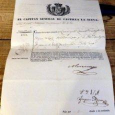 Militaria: 1834, PASAPORTE CAPITAN GENERAL DE CASTILLA LA NUEVA A MILITAR PROCURADOR A CORTES POR SEGOVIA. Lote 170015540