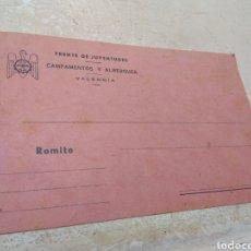 Militaria: TARJETA - POSTAL - FRENTE JUVENTUDES CAMPAMENTOS Y ALBERGUES - VALENCIA -. Lote 170185918