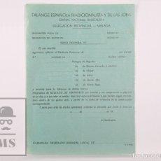 Militaria: HOJA DE PEDIDO FALANGE ESPAÑOLA TRADICIONALISTA Y JONS. CENTRAL NACIONAL SINDICALISTA / CNS MÁLAGA. Lote 170236952