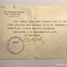 Militaria: MILITAR. DOCUMENTO EJÉRCITO REPUBLICANO. 58 BRIGADA MIXTA. 4O. BATALLON (A.1937). Lote 170312474