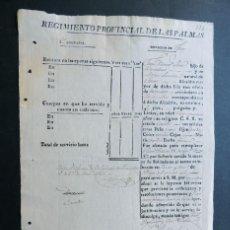 Militaria: HOJA MILITAR / SOLDADO REGIMIENTO PROVINCIAL DE LAS PALMAS ( 1831 - 1846 ) CANARIAS / TEROR /. Lote 170438104