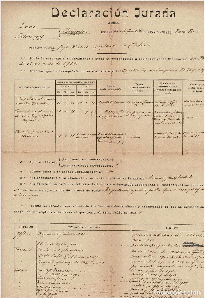 CONCESIÓN JURADA - AL QUE SERA COMANDANTE DE LA DIVISIÓN AZUL ARGIMIRO IMAZ ECHEVARRIA (Militar - Propaganda y Documentos)