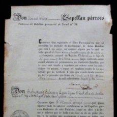 Militaria: TERUEL. BATALLÓN Nº 56. FE DE SOLTERÍA. 1863. LÁZARO Y GARGALLO. LINARES DE MORA.. Lote 170714680
