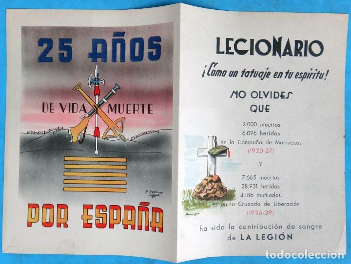 CARTEL, PORTADA DE FOLLETO, 25 AÑOS POR ESPAÑA, DE VIDA MUERTE ,LA LEGION ESPAÑOLA + 4 HOJAS (Militar - Propaganda y Documentos)