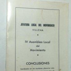 Militaria: ORIGINAL ANTIGUO LIBRETO FALANGE JEFATURA LOCAL MOVIMIENTO VILLENA. Lote 170914840