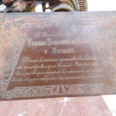 Militaria: PLACA CONMEMORATIVA DEL TERREMOTO DE CALABRIA DEL AÑO 1908. Lote 171112300