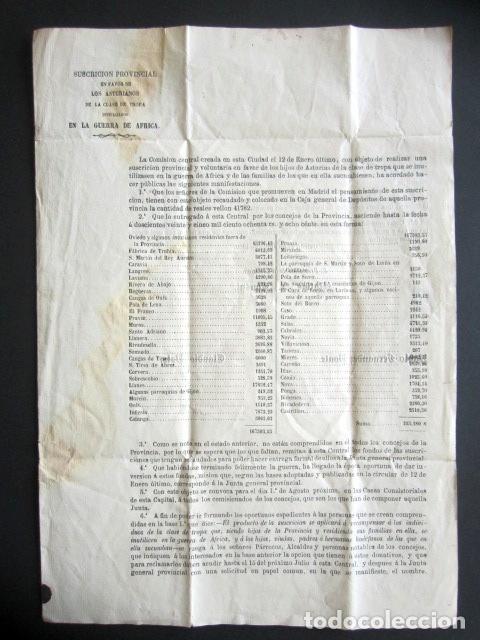 AÑO 1960. OVIEDO. SUSCRIPCIÓN A FAVOR DE ASTURIANOS DE TROPA INUTILIZADOS EN GUERRA DE ÁFRICA. (Militar - Propaganda y Documentos)