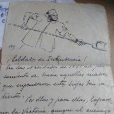 Militaria: CARTA CON DIBUJO SOLDADO INTENDENCIA DESDE EL FRENTE RUSO 1941. Lote 171624934