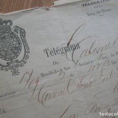 Militaria: TELEGRAMA ISLA DE CUBA AÑO 1876. GUERRA DE CUBA. ULTRAMAR.. Lote 171685107