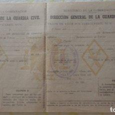Militaria: DIRECCION GENERAL GUARDIA CIVIL.TALON VIAJE FERROCARRIL.AÑOS 40. Lote 171711655