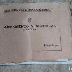Militaria: 1976 LAMINAS ARMAMENTO Y MATERIAL INSTRUCCION MILITAR ESCALA COMPLEMENTO. PRIMER CURSO. Lote 172115380