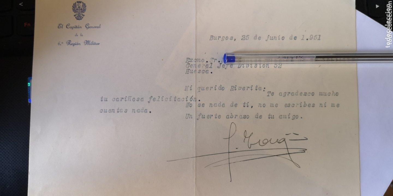 CARTA CON FIRMA ORIGINAL DEL GENERAL YAGÜE (Militar - Propaganda y Documentos)