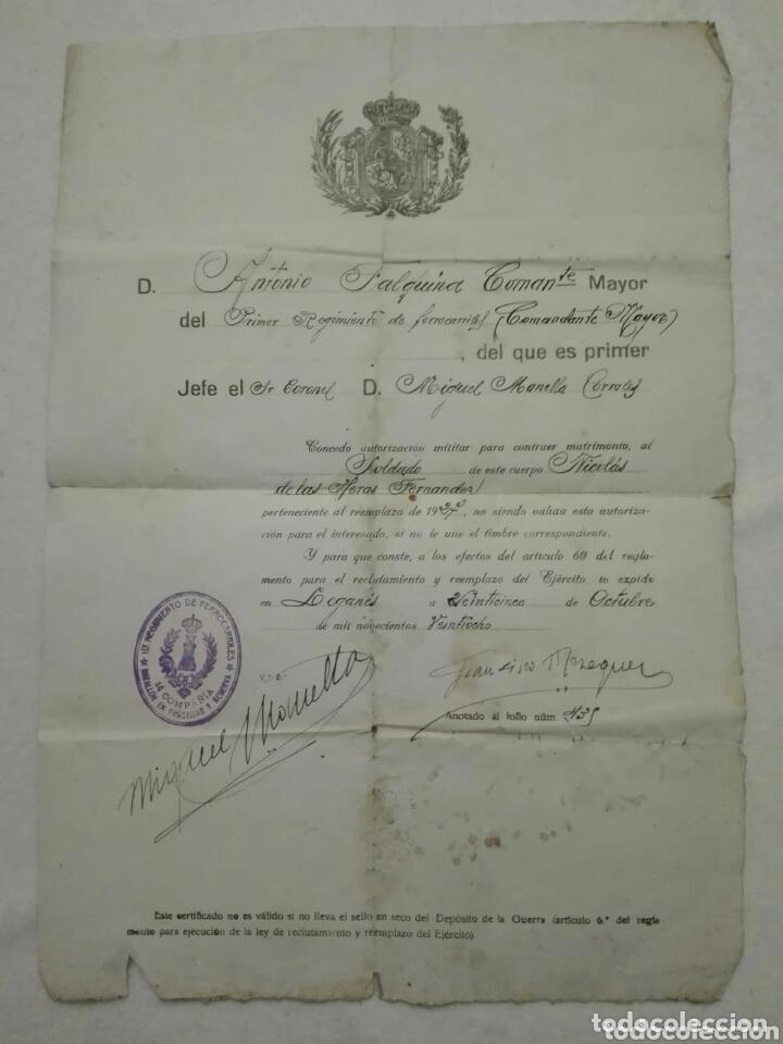 PERMISO DE CASAMIENTO DE MILITAR.1928 (Militar - Propaganda y Documentos)