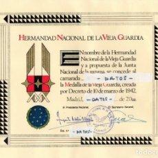 Militaria: FALANGE,HERMANDAD NACIONAL DE LA VIEJA GUARDIA,CONCESION MEDALLA DEL MISMO NOMBRE,AÑO 2000,ESPAÑA. Lote 173134610