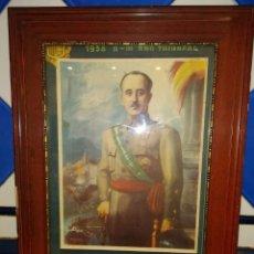 Militaria: ANTIGUO CARTEL DE FRANCO ENMARCADO 1938. Lote 173522380