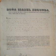 Militaria: JOSÉ DE PRADAS Y LLANÉS, NOMBRAMIENTO, ISABEL II, 1853/63, 2ºCOMANDANTE INF., SELLO REAL, ISABEL II. Lote 173636230