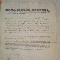 Militaria: EDUARDO MONSO QUERI, NOMBRAMIENTO ISABEL II, 2º Y 1º AYUDANTE SANIDAD CUBA, 1864, MANUEL A MALDONADO. Lote 173636712