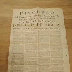 Militaria: DISCURSO JOSE LUIS ARRESE 1943. Lote 174046407