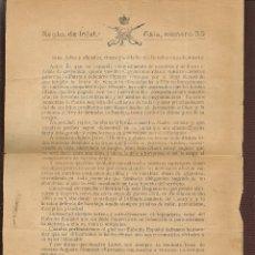 Militaria: REGIMIENTO DE INFANTERIA. ASIA, Nº 55. GERONA, 5 SPBRE 1921. EL CORONEL AYMERICH. (ST/C53). Lote 174061268