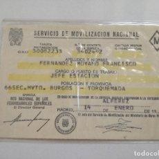 Militaria: RENFE - CARNET SERVICIO DE MOVILIZACION NACIONAL JEFE DE ESTACION ALFEREZ - 1975// BURGOS TORQUEMADA. Lote 174089809