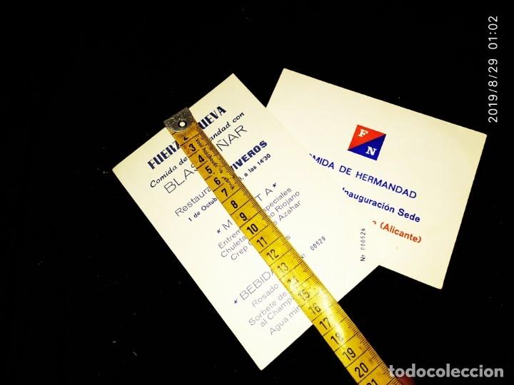 LOTE DOS INVITACIONES COMIDA HERMANDAD FUERZA NUEVA BLAS PIÑAR INAUGURACIÓN SEDE RESTAURANTE VIVEROS (Militar - Propaganda y Documentos)