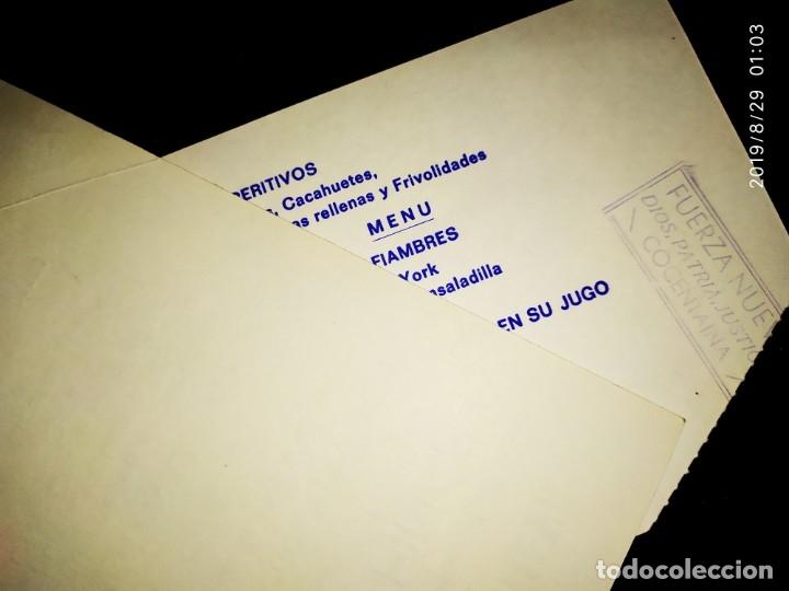 Militaria: LOTE DOS INVITACIONES COMIDA HERMANDAD FUERZA NUEVA BLAS PIÑAR INAUGURACIÓN SEDE RESTAURANTE VIVEROS - Foto 2 - 175074679