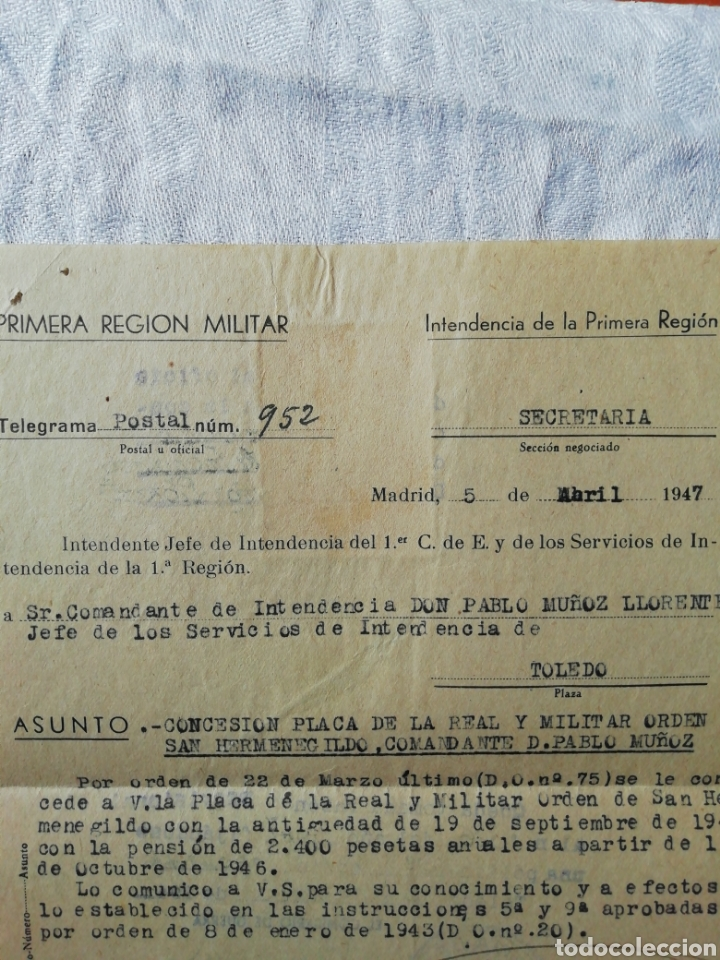 Militaria: Telegrama concesión Orden de San Hermenegildo - Foto 3 - 175115722