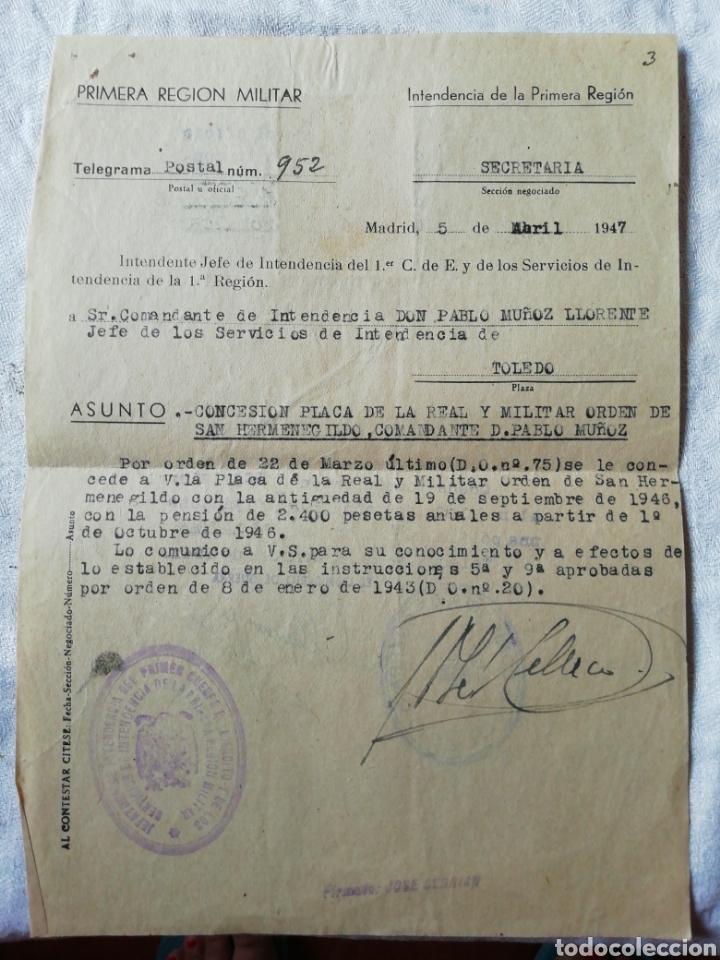 TELEGRAMA CONCESIÓN ORDEN DE SAN HERMENEGILDO (Militar - Propaganda y Documentos)