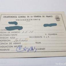 Militaria: CARTILLA ENCUADRAMIENTO GUARDIA FRANCO PARA DIVISION AZUL ,EX-COMBATIENTES . Lote 175246419