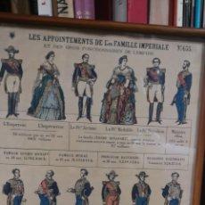 Militaria: ANTIGUA LÁMINA SIGLO 19 CON LAS VESTIMENTAS DE LA FAMILIA IMPERIAL DE FRANCIA. Lote 175391392