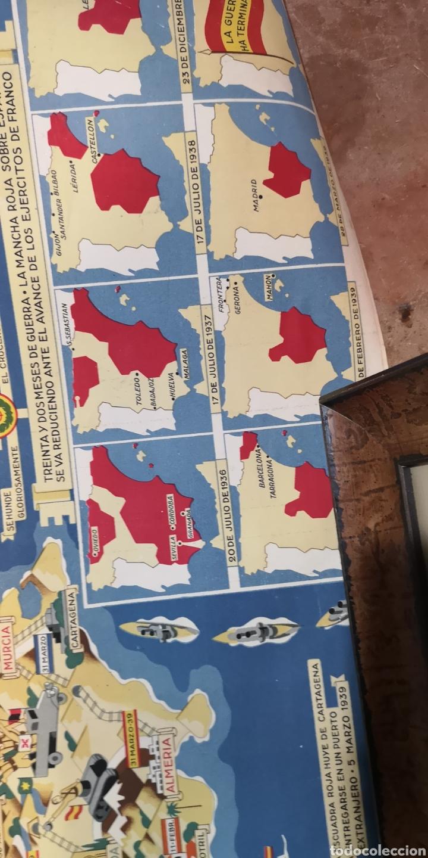Militaria: Gran póster de la guerra civil y las victorias de Franco, está rajado pero tiene muy buena restaurac - Foto 5 - 175394467
