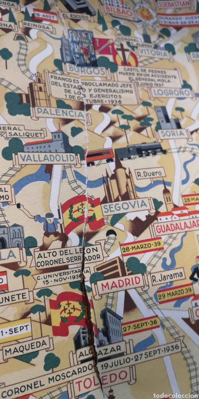 Militaria: Gran póster de la guerra civil y las victorias de Franco, está rajado pero tiene muy buena restaurac - Foto 8 - 175394467