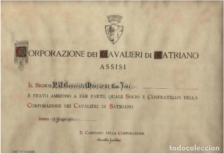 CONCESIÓN AL HÉROE DEL ALCÁZAR JOSÉ MOSCARDÓ. CORPORACIÓN DE LOS CABALLEROS DE SATRIANO ASSISI. (Militar - Propaganda y Documentos)