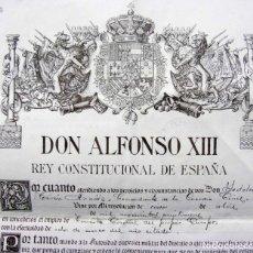 Militaria: NOMBRAMIENTO MILITAR. FIRMA ALFONSO XIII. TTE. CORONEL GUARDIA CIVIL. INDALECIO TERÁN. BURGOS. 1930.. Lote 175542922