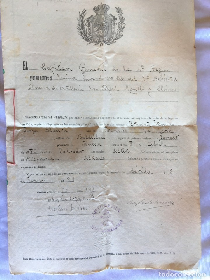 CONCESION DE LICENCIA MILITAR ABSOLUTA POR 12 AÑOS DE PRESTACIÓN DE SERVICIOS DE 1907 A 1917. (Militar - Propaganda y Documentos)