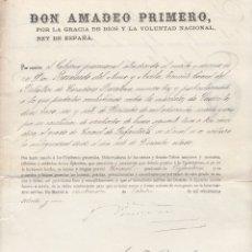 Militaria: AMADEO I. PRIMERO. ASCENSO A CORONEL-MERITO DE GUERRA.- MADRID 24 OCTUBRE 1871.. Lote 175655472