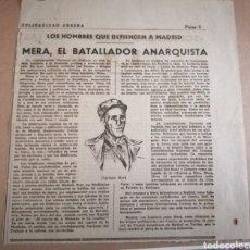 Militaria: MERA, EL BATALLADOR ANARQUISTA. ARTÍCULO SOLIDARIDAD OBRERA. GUERRA CIVIL. Lote 175786837