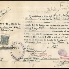 Militaria: HABERES SOLDADO MUERTO EN TERUEL . Lote 175956650