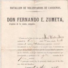 Militaria: BATALLON DE VOLUNTARIOS DE CARDENAS. DON FERNANDO E. ZUMETA. GUERRA CUBA 1869. Lote 176050834