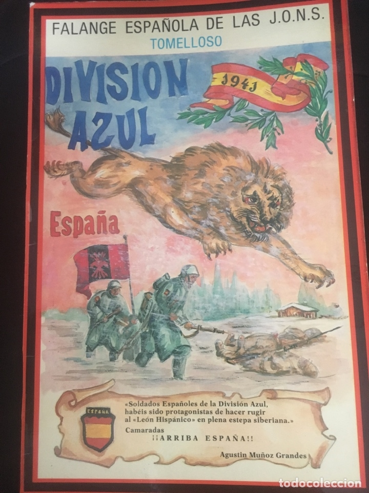 PROPAGANDA ALEGORICA DE LA DIVISION AZUL. 25X16CM. FALANGE ESPAÑOLA DE TOMELLOSO (Militar - Propaganda y Documentos)