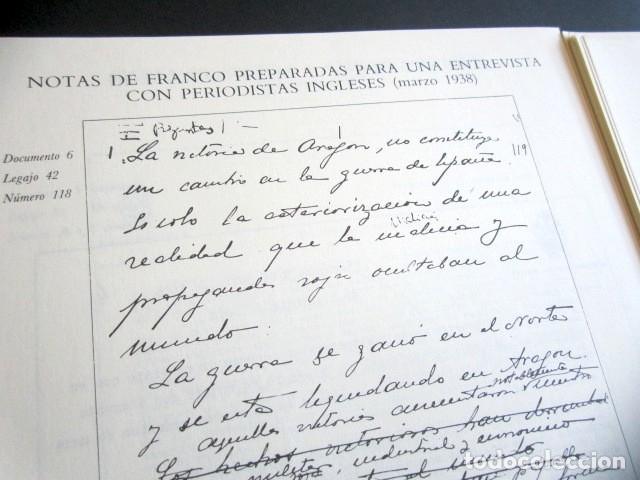 Militaria: MANUSCRITOS DE FRANCO CON SU TRANSCRIPCIÓN. LOTE DE 27 DOCUMENTOS FAXÍMILES. - Foto 7 - 176103800