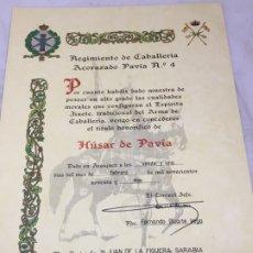 Militaria: DOCUMENTO CONCESIÓN TÍTULO HONORIFICO HÚSAR DE PAVÍA REGIMIENTO CABALLERÍA 4 ARANJUEZ . Lote 176156460