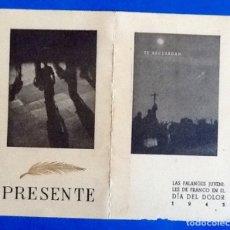 Militaria: RECORDATORIO MUERTE DE JOSE ANTONIO 1943. FALANGES JUVENILES DE FRANCO. ENVIO INCLUIDO EN EL PRECIO.. Lote 176253913