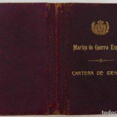 Militaria: ARMADA ESPAÑOLA. CARTERA DE IDENTIDAD MILITAR DE UN OFICIAL (TENIENTE DE NAVÍO) ÉPOCA ALFONSO XIII. Lote 176452944