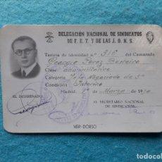 Militaria: TARJETA IDENTIDAD DELEGACIÓN NACIONAL DE SINDICATOS DE FET Y JONS. AÑO 1950. LUGO.. Lote 176885189