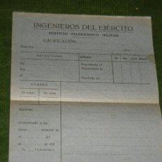 Militaria: PLIEGO IMPRESOS TELEGRAMA SERVICIO TELEGRAFICO MILITAR INGENIEROS DEL EJERCITO AÑOS 1930. Lote 177068842